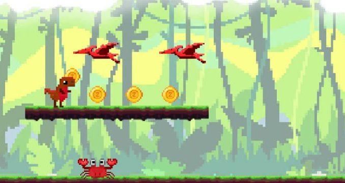Mobilní hra skákací poučná Infosaurus