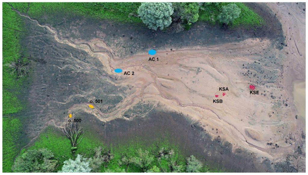 Archeologický výzkum vodní nádrž Mohelno plán s popisky