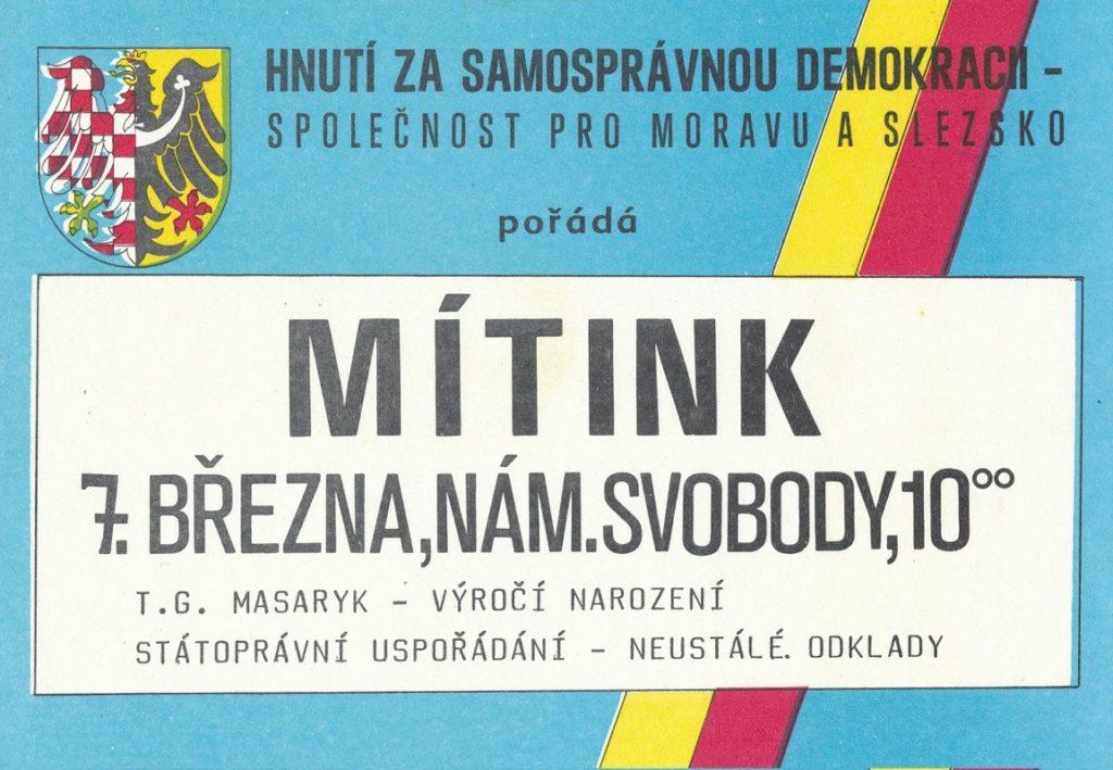 Hnutí za samosprávnou demokracii – Společnost pro Moravu a Slezsko pozvánka na míting